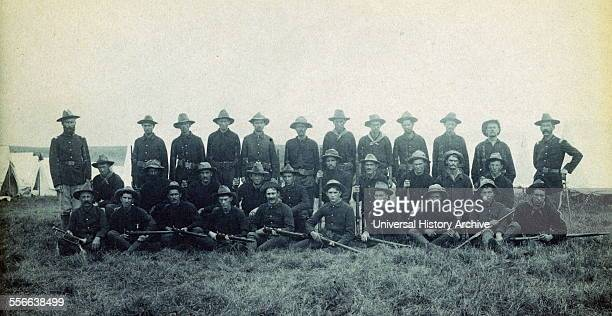 Photographic print of Theodore Roosevelt's Rough Riders Company B at a military camp Montauk Point New York Photographed by Frances Benjamin Johnston...