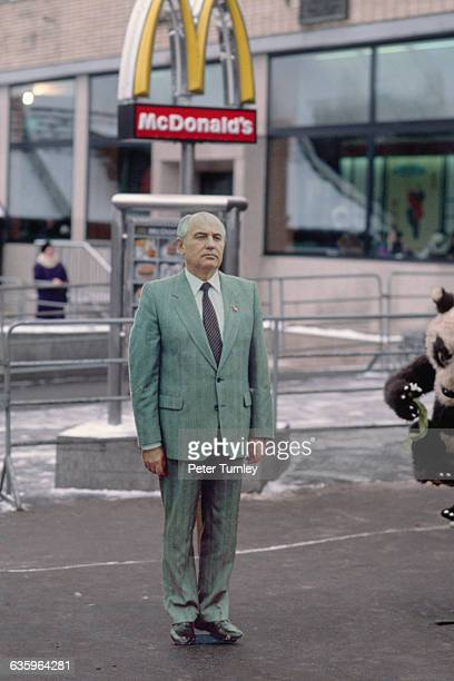 Photographic Prop of Mikhail Gorbachev in Front of McDonald's