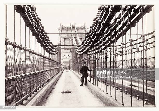 A photographic view across the Menai Suspension Bridge in Bangor North Wales published by Francis Bedford Co Built by one of England's greatest civil...