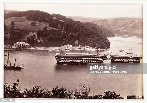 A photographic view of training ships of the Royal Navy Cadet School based in Dartmouth on the River Dart published by Francis Bedford Co The...