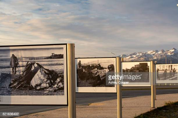 a photographic war memorial for the fallen argentinian soldiers of the falklands conflict in ushuaia - falklands war stock pictures, royalty-free photos & images