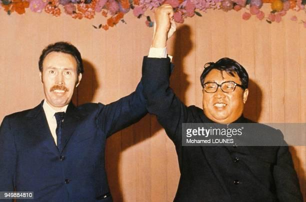 Photographie d'archives Houari Boumédiène et Kim Ilsung en juillet 1986 Corée du Nord