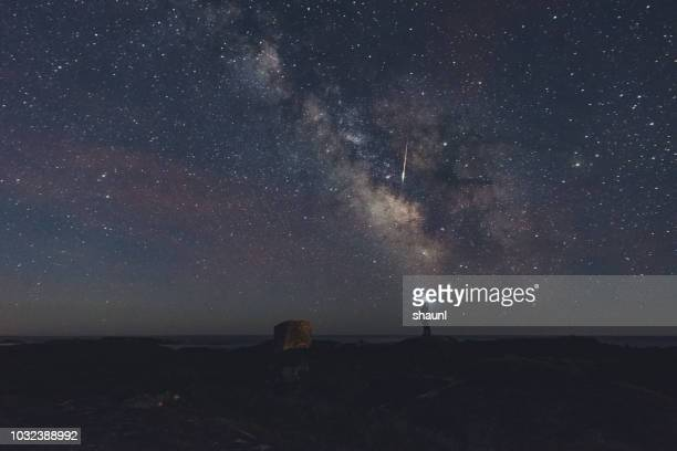photographing a meteor - meteorite foto e immagini stock