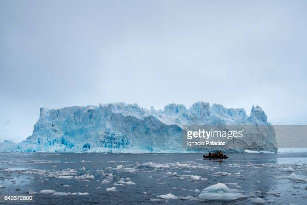 Photographing Icebergs from the zodiak, Cierva Cove