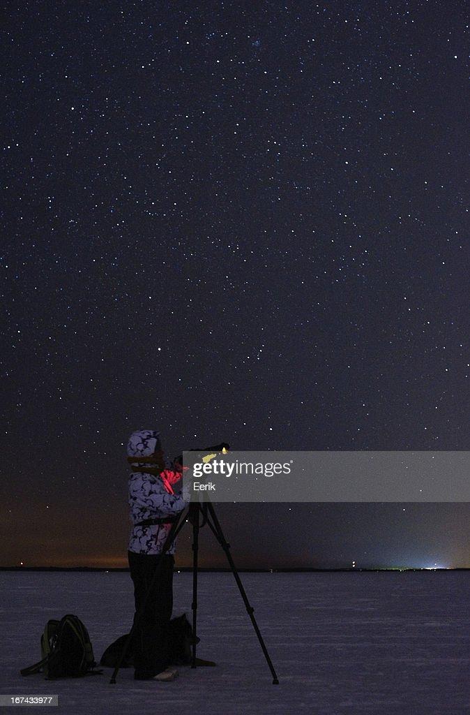 Fotografiando las estrellas : Foto de stock