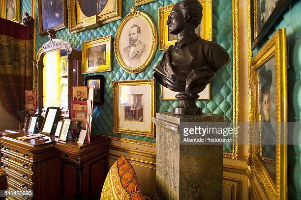 photographs and art on display in a private room in the royal palace, stockholm, sweden - the stockholm palace stock pictures, royalty-free photos & images