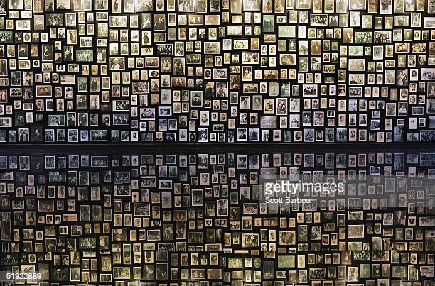 Photographs are displayed at the Birkenau Museum December 10 2004 of the many faces of the men women and children at the Auschwitz II Birkenau which...