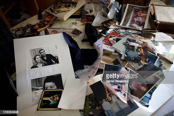 Photographs are seen at the house of Aisha Gaddafi the daughter of Libyan leader Muammar Gaddafi on August 30 2011 in Tripoli Libya Libyan rebel...