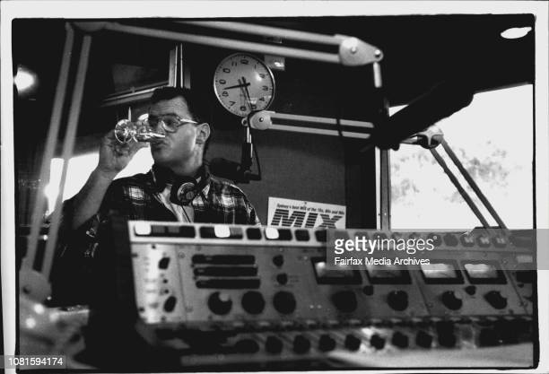 Photographs for a spectrum feature on the expose of Sydney breakfast Radio ProgramsPhoto of Mike Carlton of Mix sipping on Champane June 06 1994