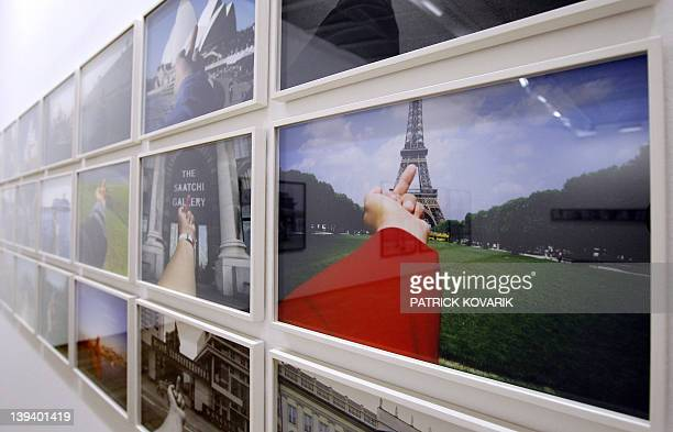 Photographs from Study of Perspective series by Chinese dissident artist Ai Weiwei are pictured at the Jeu de Paume Museum in Paris on February 20...