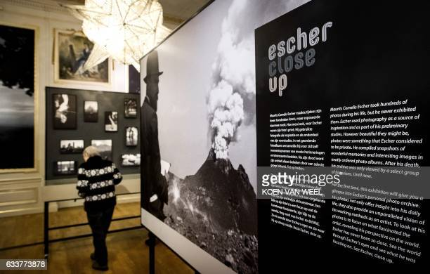 Photographs from the personal archive of Dutch artist Maurits Cornelis Escher are seen at the Escher Museum in The Hague on February 4 the first ever...