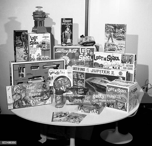 Photographs of a display of CBS Enterprises consumer products Items include 'Lost in Space' games and memorabilia New York NY Image dated December 30...