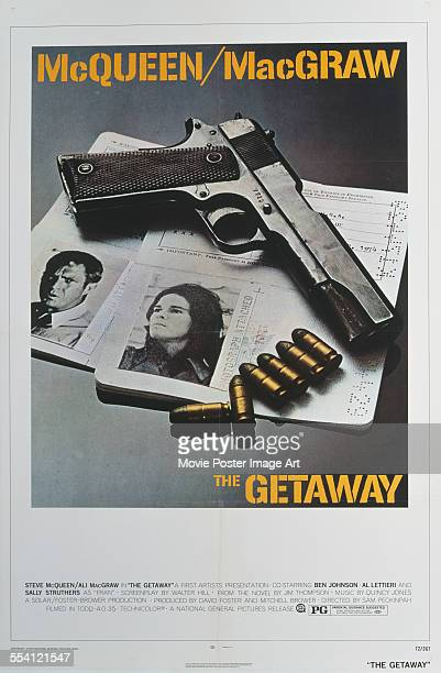 Photographs of actors Steve McQueen and Ali MacGraw appear on a US onesheet for the First Artists crime film 'The Getaway' 1972 The film was directed...