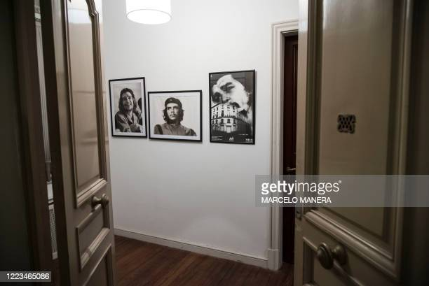 Photographs of Argentinian revolutionary legend Ernesto 'Che' Guevara's hang in the apartment he was born in Rosario Argentina on June 29 2020