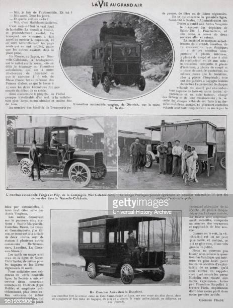 Photographs of French petrol busses introduced for public transport in 1905