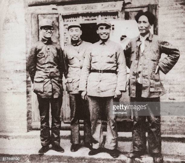 Photographs of Mao Zedong From right Mao Zedong Zhu De Zhou Enlai and Qin Bangxian in northern Shaanxi after the 25000li Long March of the Chinese...