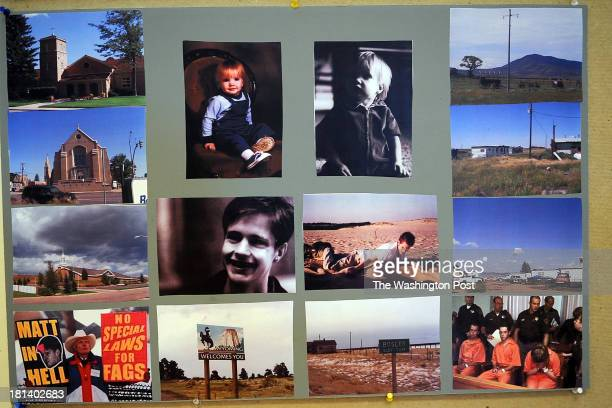 Photographs of Matthew Shepard his home town his murders at trial and many others from the surroundings of his home are placed inside the rehearsal...