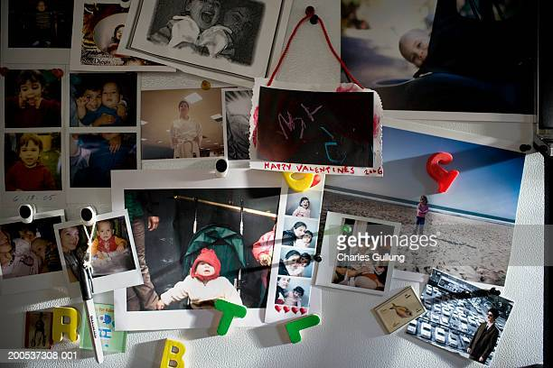 photographs of parents and children (11 months-2) on refrigerator - refrigerator stock pictures, royalty-free photos & images
