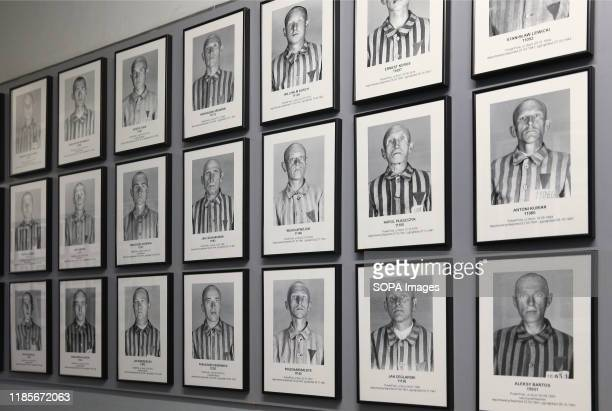 Photographs of prisoners seen inside the museum at Auschwitz I camp The 75th anniversary of the liberation of Auschwitz and Holocaust Remembrance Day...
