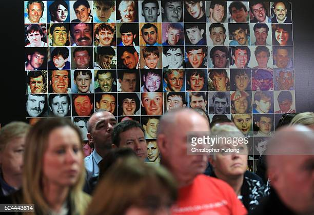 Photographs of the 96 victims of The Hillsborough disaster are displayed on the wall as family members attend a Hillsborough Justice Campaign Press...