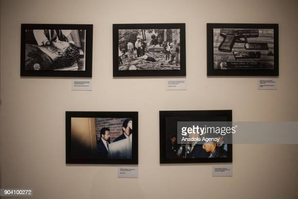 Photographs of the fall of the leaders of the cartels of Medellin and Cali respectively are seen at the exhibition of 'History of the Violence in the...