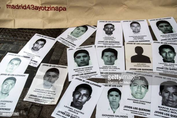 Photographs of the people who disappeared known as the the 43 of Ayotzinapa during a protest near the Mexican Embassy under the slogan 'three years...