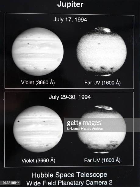 Photographs of the planet Jupiter taken by the Hubble Telescope The upper atmospheric winds are revealed in ultraviolet images Dated 20th century