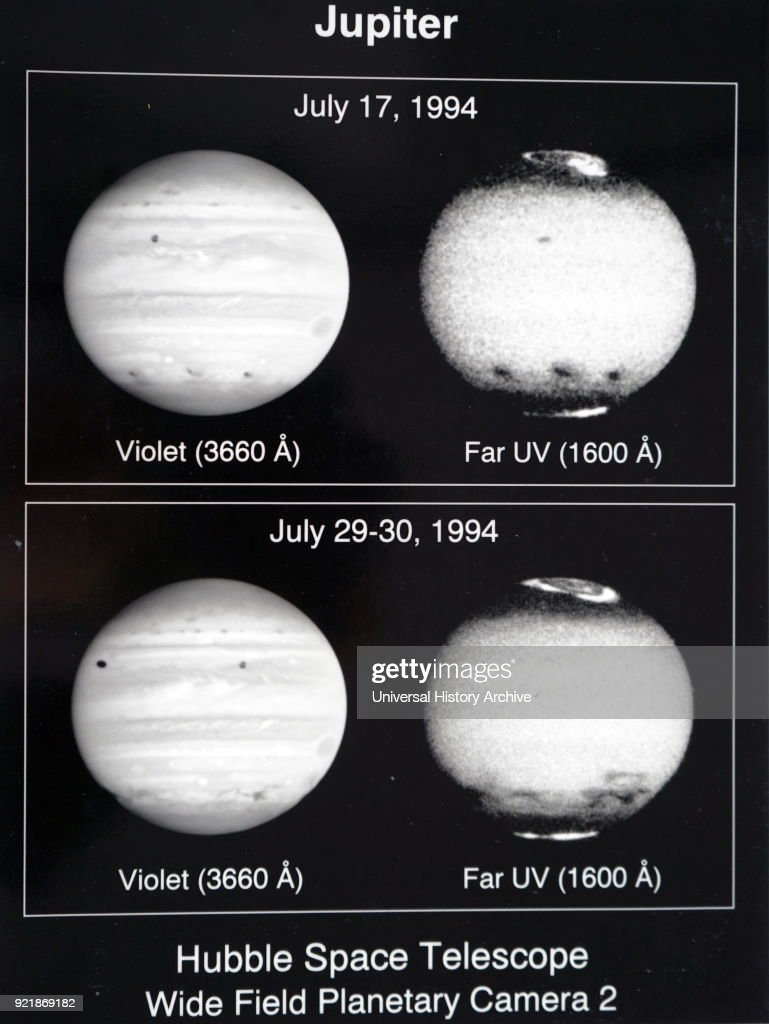 Photographs of the planet Jupiter taken by the Hubble Telescope. The upper atmospheric winds are revealed in ultraviolet images. Dated 20th century.