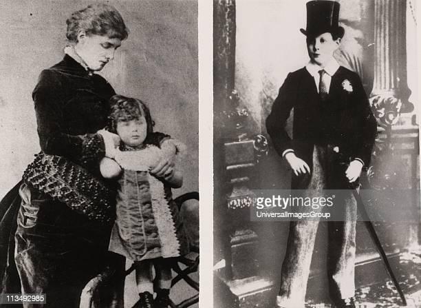 Photographs of Winston Spencer Churchill British statesman Churchill aged 4 fulllength standing held by his mother Lady Randolph Churchill Churchill...