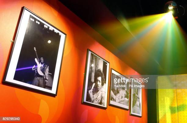 Photographs on display at the press preview for the exhibition Jimi At The Marquee featuring the world's largest collection of Jimi Hendrix...