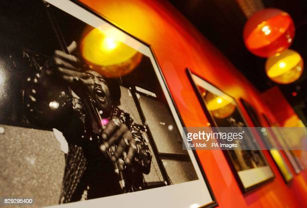 Photographs on display at the press preview for the exhibition Jimi At The Marquee eaturing the world's largest collection of Jimi Hendrix...