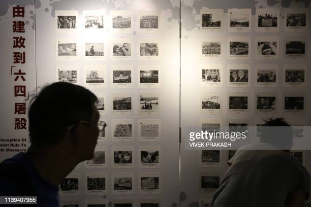 Photographs related to the 1989 Tiananmen Square massacre are displayed at the June 4 Museum in Hong Kong on April 26 2019 The museum which opened at...