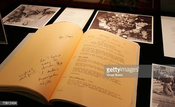 Photographs scripts and other memorabilia are displayed at the ceremony to celebrate the gift of The Gregory Peck Collection at The Academy Of Motion...