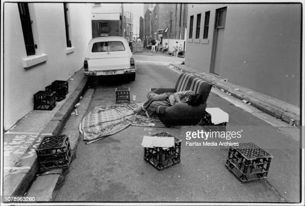 Photographs show scenes from the 1194 Gay and Lesbian Mardi Gras.In a Lane behind the Flinders Hotel recovery party a man sleeps. The day after....