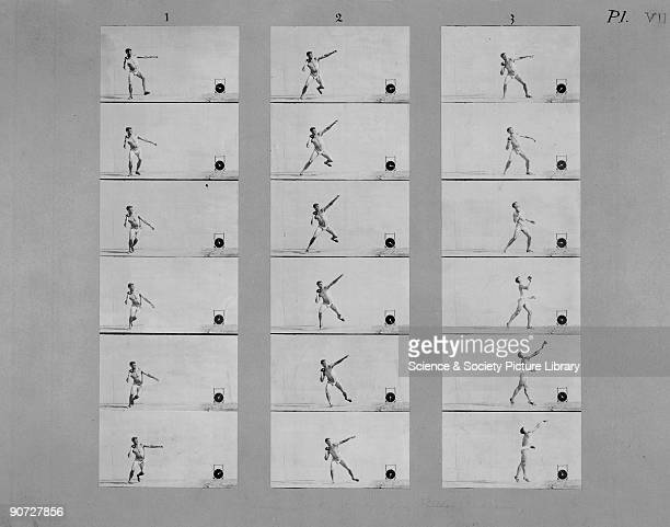 Photographs showing successive phases of movement of an athlete at the Olympic Games Paris 1900 Taken by EtienneJules Marey on moving film with his...