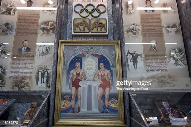 Photographs to top Soviet wrestlers and Olympic champions Alexander Medved and Alexander Karelin are displayed in the hall of fame in the Wrestling...