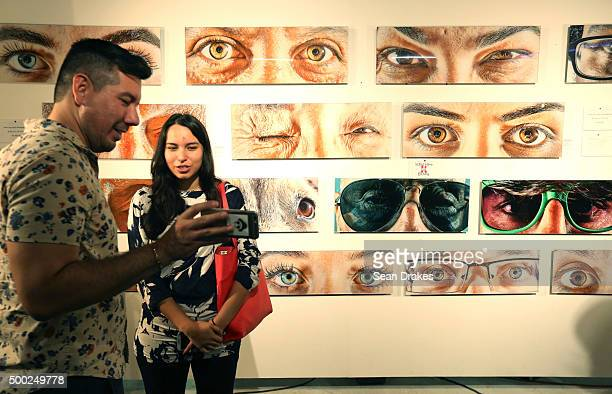 A photography display by Bridges Aderhold in Gab Studio in the Wynwood art district during Art Basel Miami Beach on December 05 2015 in Miami Florida
