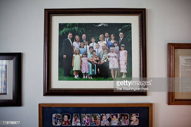A photography in Kent Romney and Virginia Hatch Romney's home shows their family in Colonia Juarez Mexico in July 2011 United States Presidential...