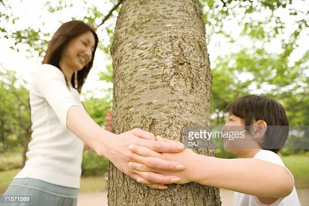 Photography of a mother and boy playing by the Tree, Low Angle View