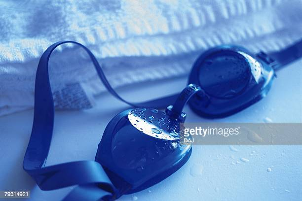 Photography of swimming goggles, High Angle View, Toned Image