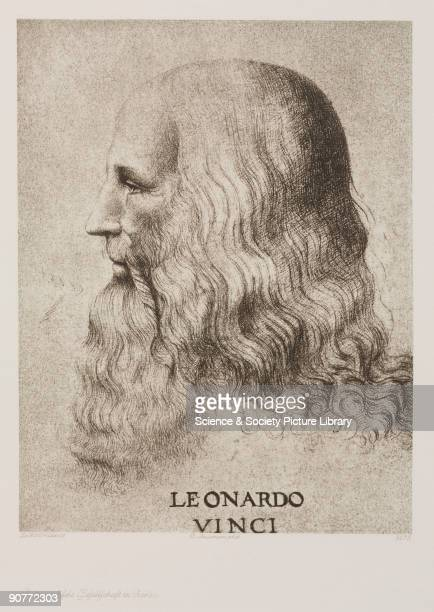 Photogravure after a selfportrait drawing by da Vinci who was an Italian artist engineer scientist and inventor His drawings featured ideas such as a...