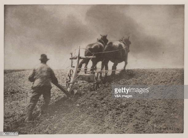 Photogravure from the photographer Peter Henry Emerson's book 'Pictures of East Anglia Life' The picture shows a ploughman with two horses ploughing...