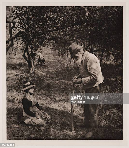 Photogravure Photograph by Peter Henry Emerson of an old man treegrafting
