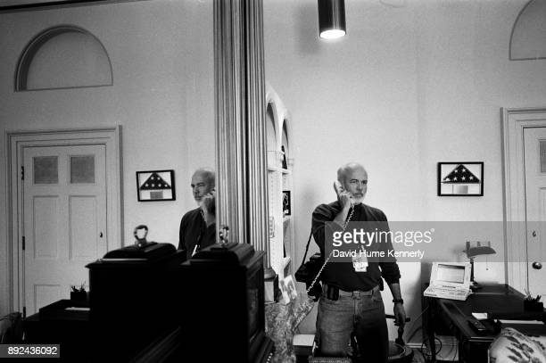 Photojournalist David Hume Kennerly in the Capitol Hill office of Sen Patrick Leahy during the Senate Impeachment Trial of President Bill Clinton on...
