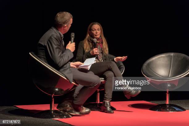 Photojournalist Paula Bronstein Daily Life first prize singles winner with 'The Silent Victims of a Forgotten War' is interviewed onstage after her...