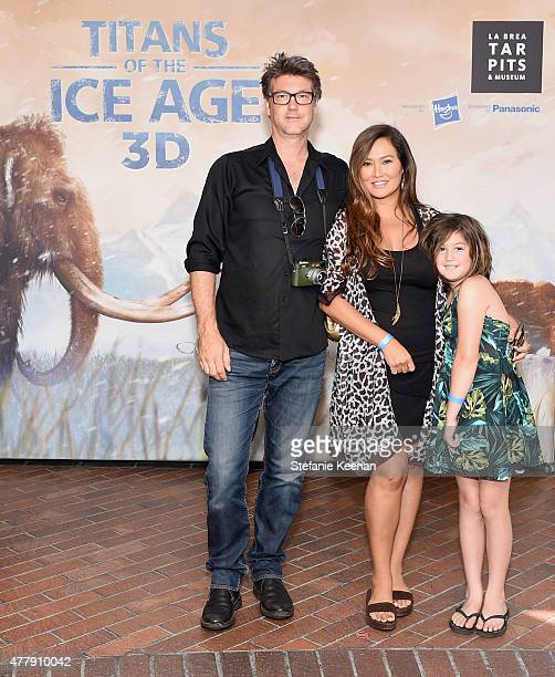 Photojournalist Simon Wakelin actress Tia Carrere and Bianca Wakelin attend the Titans of the Ice Age Premiere at La Brea Tar Pits and Museum on June...