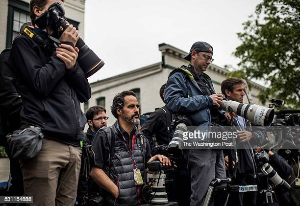 WASHINGTON DC Photojournalists and videographers stand across the street on ladders and along the sidewalk at the National Republican Headquarters on...