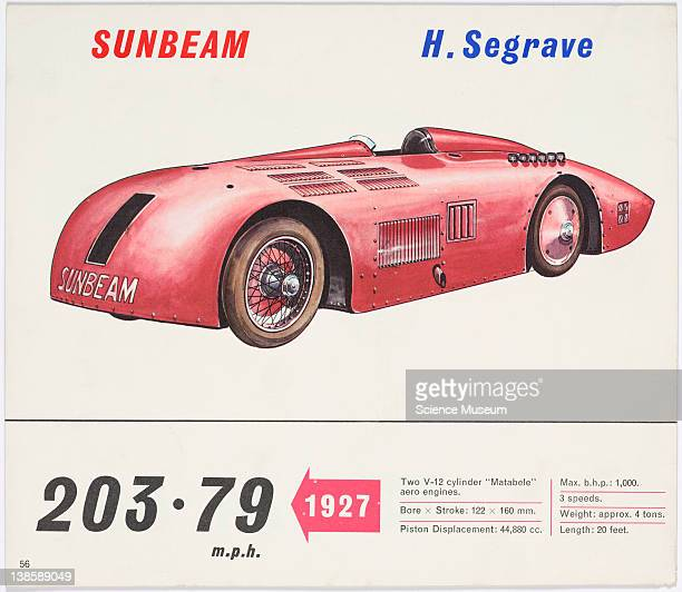 Photolithographic print of an original illustration drawn by Piet Olyslager produced for 'The BP Book of World Land Speed Records' published by...