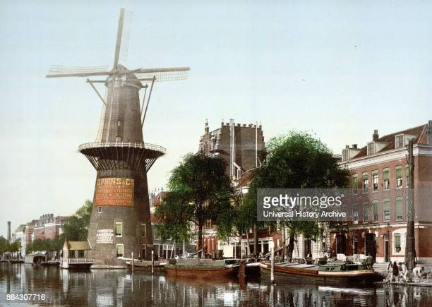 Photomechanical print dated to 1900, depicting the Rotterdam big flourmill De Hoop Coolsingel en Coolvest, built in 1736 and demolished 1922.