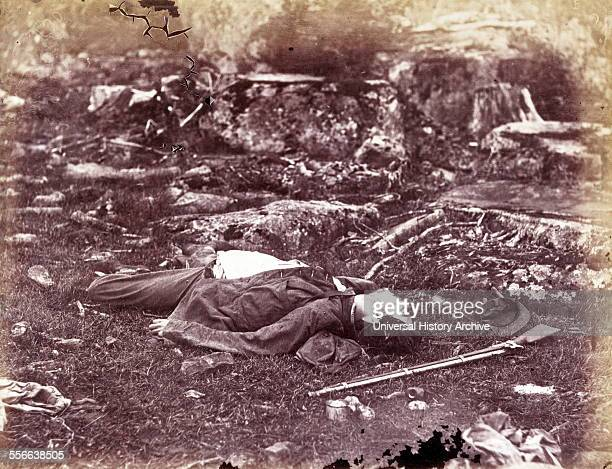 Photomechanical print of a deceased sharpshooter during the Battle of Gettysburg. The Battle of Gettysburg lasted from July 1–3 in and around the...
